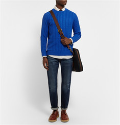 Beams Plus Slim-Fit Cable-Knit Linen-Blend Sweater
