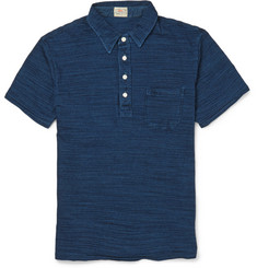 Faherty Indigo-Dyed Washed-Cotton Polo Shirt