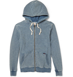 Faherty Indigo-Dyed Cotton-Terry Hoodie