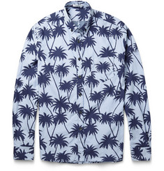 Tomas Maier Palm-Print Striped Cotton Shirt