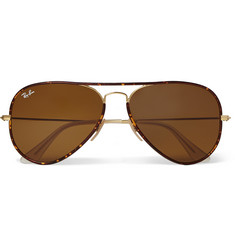 Ray-Ban Tortoiseshell Acetate and Metal Aviator Sunglasses