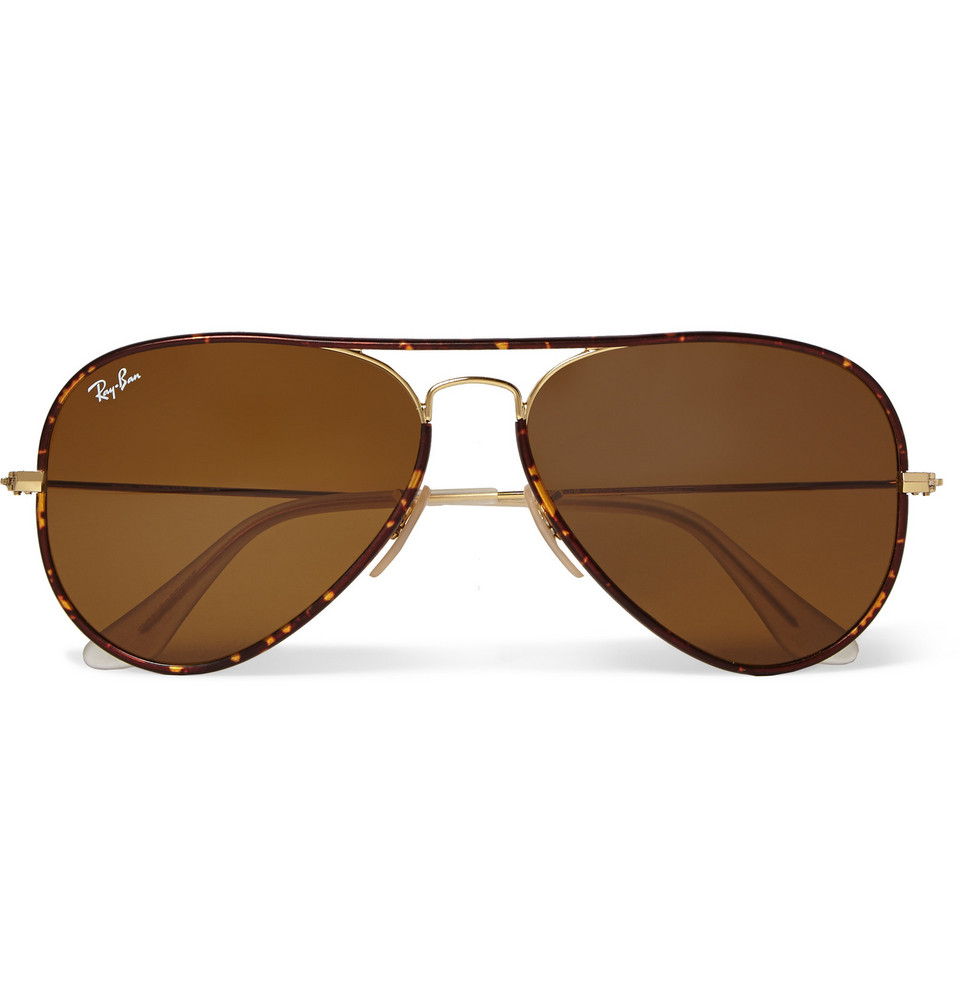 Aviator Tortoiseshell Acetate and Metal Sunglasses Brown