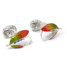 Deakin & Francis Enamelled Silver Fishing Fly Cufflinks
