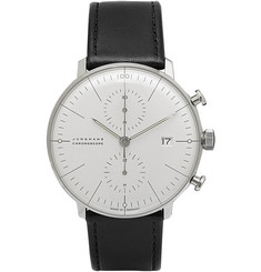 Junghans Max Bill Stainless Steel and Leather Chronograph Watch