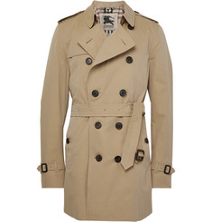 Burberry London Kensington Mid-Length Cotton-Gabardine Trench Coat
