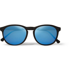 Illesteva Hudson Round-Frame Acetate Mirrored Sunglasses