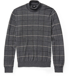 Dunhill Windowpane Check Wool Rollneck Sweater
