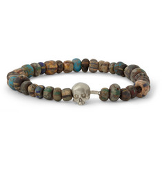 Luis Morais White Gold Skull and Bead Bracelet