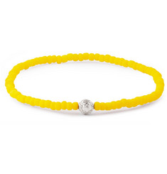 Luis Morais Solar Plexus Chakra White Gold and Glass Bead Bracelet