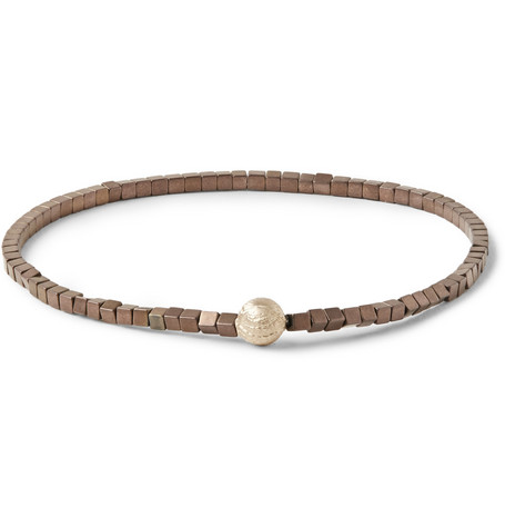 luis morais male 211468 luis morais glass bead and gold bracelet brown