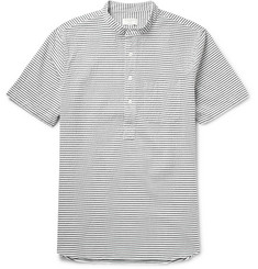 Club Monaco Grandad-Collar Striped Cotton-Seersucker Shirt