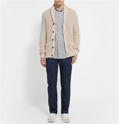 Club Monaco Ribbed Cotton and Linen-Blend Shawl-Collar Cardigan
