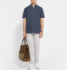 Club Monaco Button-Down Collar Striped Linen Shirt