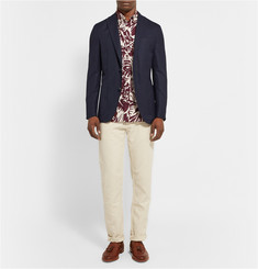 Club Monaco Button-Down Collar Palm-Print Cotton Shirt