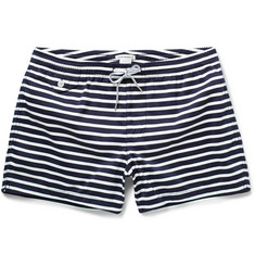 Club Monaco Arlen Short-Length Striped Swim Shorts