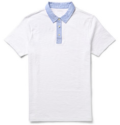 Club Monaco Contrast-Collar Slub Cotton-Jersey Polo Shirt