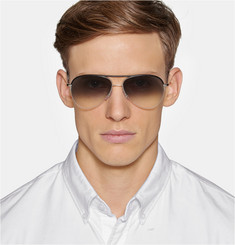 Cutler and Gross Leather-Trimmed Acetate Aviator Sunglasses