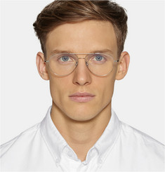Cutler and Gross Palladium-Plated Stainless Silver Aviator Optical Glasses