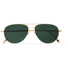 Cutler and Gross Gold-Plated Stainless Steel Aviator Sunglasses