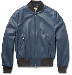 Club Monaco Golden Bear Leather Bomber Jacket