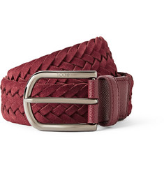 Tod's Red 3.5cm Woven Suede Belt