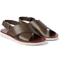 Armando Cabral Wide-Strap Leather Sandals