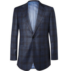 Lutwyche Blue Check Wool and Cashmere-Blend Blazer