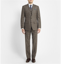 Lutwyche Brown Prince Of Wales Check Wool Three-Piece Suit