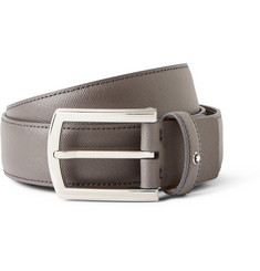 Montblanc 3.5cm Dark-Grey Textured-Leather Belt