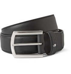 Montblanc 3.5cm Black Textured-Leather Belt