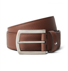 Montblanc Brown 3.5cm Textured-Leather Belt