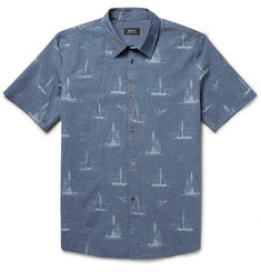 A.P.C. Slim-Fit Printed Cotton-Chambray Shirt