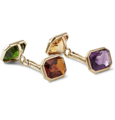 Foundwell Vintage 14-Karat Gold Amethyst, Citrine, Garnet and Tourmaline Cufflinks