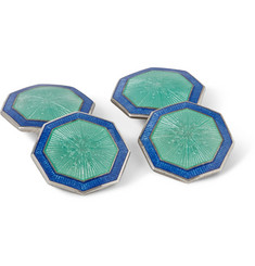 Foundwell Vintage Enameled Octagonal Sterling Silver Cufflinks