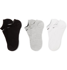Nike Three-Pack No-Show Cusioned Cotton-Blend Socks