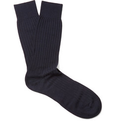 Pantherella Hemingway Ribbed Escorial Wool-Blend Socks