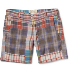 Remi Relief Slim-Fit Patchwork Checked Cotton Shorts