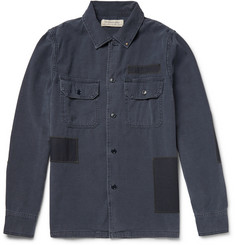 Remi Relief Slim-Fit Patchwork Washed-Denim Shirt