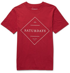 Saturdays Surf NYC Serif Sign Printed Cotton-Jersey T-Shirt