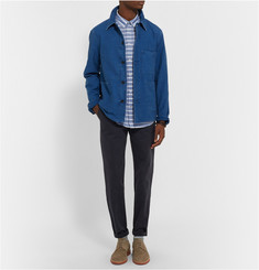 NN.07 New Derek Button-Down Collar Striped Cotton-Poplin Shirt