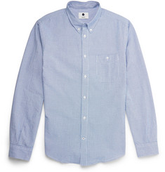 NN.07 New Derek Slim-Fit Check Seersucker Cotton Shirt
