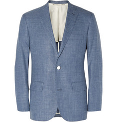 Freemans Sporting Club Blue Slim-Fit Cotton-Chambray Blazer