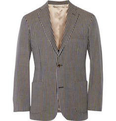 Freemans Sporting Club Striped Cotton-Canvas Blazer