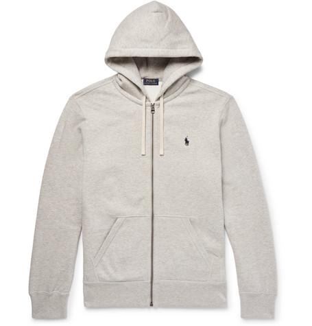 06192dd650f43 Polo Ralph Lauren Marl Cotton-Blend Zip-Up Hoodie - Off-White ...