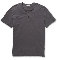 James Perse Washed Slub Cotton-Jersey Henley T-Shirt