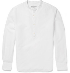 Officine Generale Auguste Cotton and Linen-Blend Poplin Grandad-Collar Shirt