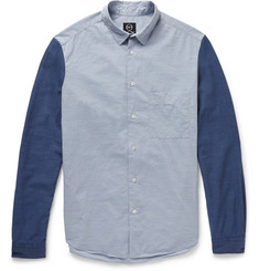 McQ Alexander McQueen Contrast-Sleeve Cotton-Chambray Shirt