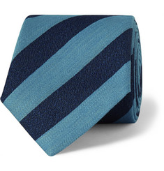Charvet Striped Silk and Linen-Blend Tie