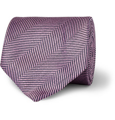 Charvet Herringbone Silk and Linen-Blend Tie