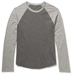 James Perse Marled Cotton-Jersey Long-Sleeved Raglan T-Shirt